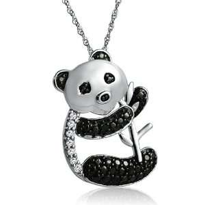 Sterling Silver Black and White Diamond Panda Bear Necklace on an