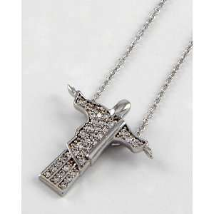 White Gold Plated Christ the Redeemer Pendant Necklace