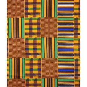 African Fancy Print Plaid Squares Fabric: Arts, Crafts