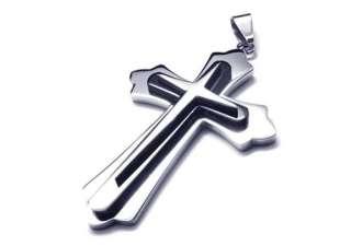 Men Black Silver Stainless Steel Cross Necklace Pendant