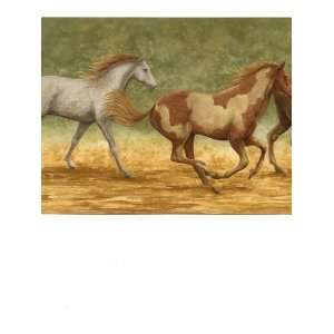 Wallpaper Border Running Wild Horses on Tan and Green