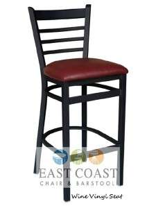 Commercial Metal Dining Bar Stool w/ Wine Vinyl Seat