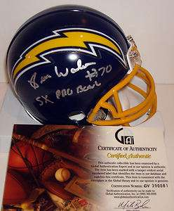 Russ Washington Signed Auto San Diego Chargers NFL Mini Helmet