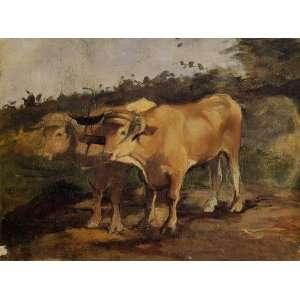 Oil Painting Two Bulls Wearing a Yoke Henri De Toulouse