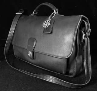 VINTAGE EXACUTIVE COACH BLACK LEATHER BRIEFCASE, STYLE 5180