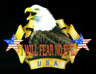 EAGLE I WILL FEAR NO EVIL USA AMERICAN FLAG STARS T SHIRT 523