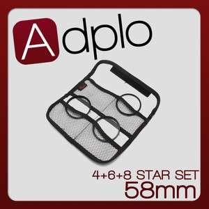58mm 4Point +6Point +8Point Star Filter+Filter case SET