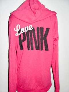 NWT Victorias Secret PINK Applique Patch LOVE PINK Pullover Hoodie M