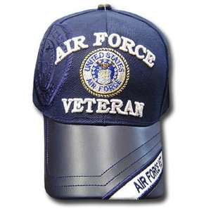 US AIR FORCE VETERAN SEAL NAVY BLUE LEATHER CAP HAT ADJ