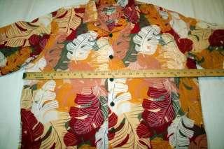 Hilo Hattie Hawaiian Shirt Extra Large 100% Rayon Pink/Red/Orange