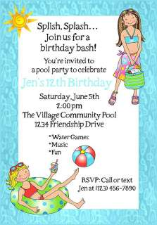 Personalized TEEN POOL PARTY BIRTHDAY Invitations