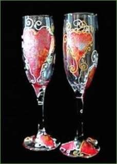 Valentine Hearts 6oz Champagne Flute Glasses Set of 2