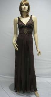 Sue Wong Brown Coffee Beaded Long Dress Gown Evening 4 Designer N7340