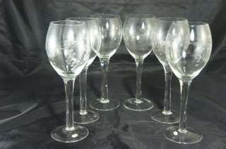 VINTAGE RED/WHITE WINE CLEAR GOBLETS GLASSES GRAPES LEAVES ETCHED SET