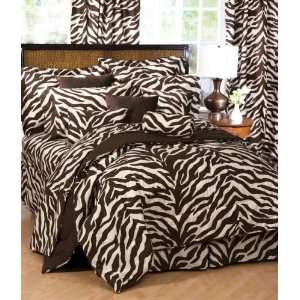 Brown Zebra Complete Bedding Set White