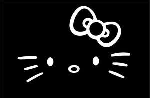 Hello Kitty Face Only with Whisker Bow Car Vinyl Window Decal Decals