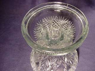 Antique EAPG Punch Bowl Stand Hobstars & Whirling Stars