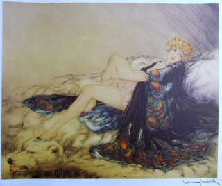 Louis ICART Rare Lithograph Bear Rug SIGNED Art Deco