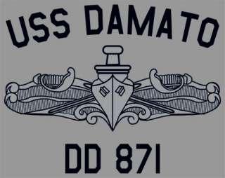 US USN Navy USS Damato DD 871 Destroyer T Shirt