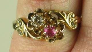 Estate Vintage 14K Yellow Gold .30ctw Genuine Diamond & Ruby Flower
