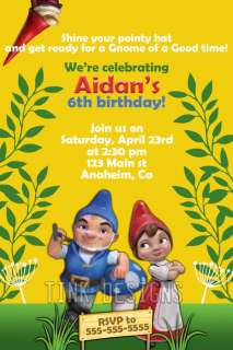 Gnomeo and Juliet gnome invitation birthday party favor printed or