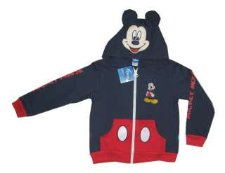 965 BNWT MICKEY MOUSE navy blue cotton hooded fancy jacket S 4 5 yrs