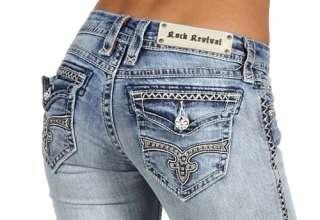 New Womens Rock Revival Jeans Kate B2 RJ8324B2 Crystal Fleur De Lis