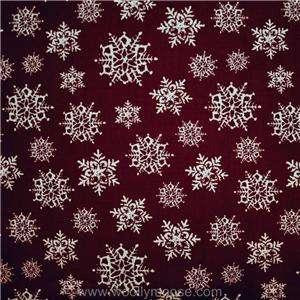 HALF YARD Christmas RILEY BLAKE Snow Flakes Dark Red HOLLY JOLLY