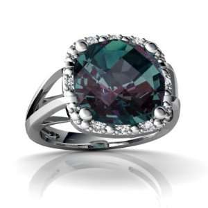 14K White Gold Cushion Created Alexandrite Ring Size 4 Jewelry