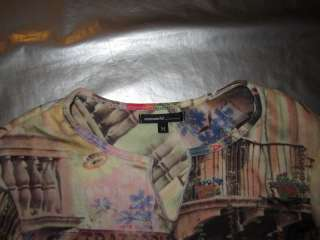 WORLD KNIT TOP Long Sleeve Floral Street Scene Print Shirt Size MEDIUM