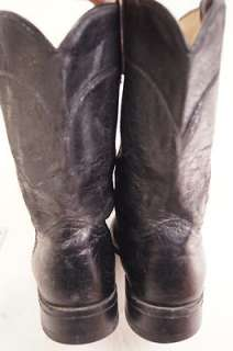 Acme Exotic Skin Man Made Black 9 D Mens Western Boots