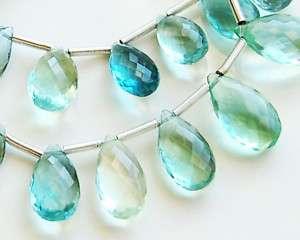 AAA Blue Green Fluorite Pear Briolette Beads 5pcs