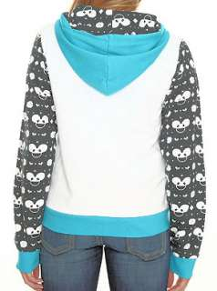 ~ WHITE BLUE BLACK ALL OVER GIRLS FRONT ZIP LICENCED HOODIE