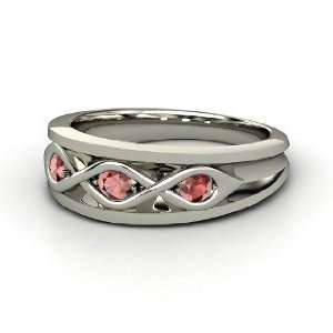 Triple Twist Ring, 14K White Gold Ring with Red Garnet