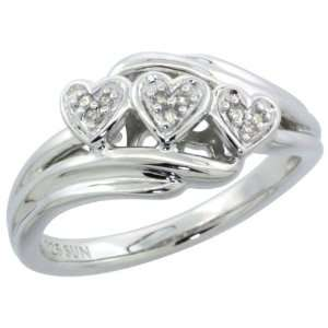 Sterling Silver Triple Heart Engagement Ring w/ Tiny Brilliant Cut