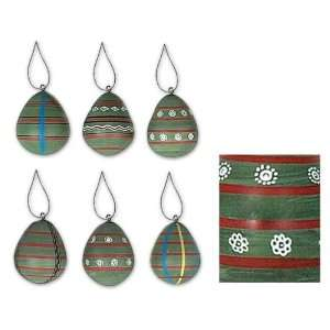 Ceramic ornaments, Green Forest (set of 6)