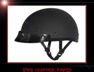 DAYTONA FLAT BLACK SKULL CAP DOT 1/2 BOBBER HELMET