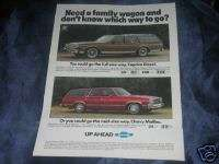 Chevy Caprice Diesel Malibu Station Wagon Car 1981 Ad