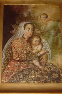 1800s GENUINE OIL PAINTING CANVAS VIRGIN AND Child and CHERUBS FINE