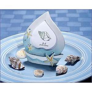 Boat Shaped Photo Frames With Starfish Designs Blue & White Colors