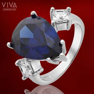 10mm x 14mm Blue Sapphire 18K White Gold Plated Fashion Jewelry