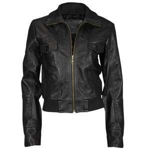 VIPARO Womens Sports Collar Lamb Leather Bomber Jacket