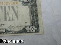 US SERIES OF 1928 $10 DOLLAR BILL GOLD CERTIFICATE YELLOW GOLD SEAL
