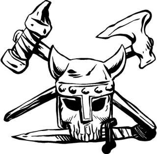 Viking Skull Decal Car Truck Cycle Window Sticker