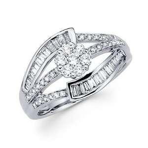 Size  6.5   14k White Gold Diamond Flower Large Ring Band
