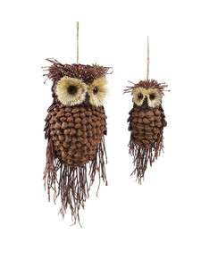Pair Large Rustic Owl Bird Pine Cone Twig Christmas Ornaments