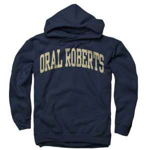 Oral Roberts Golden Eagles Navy Arch Hooded Sweatshirt Sports