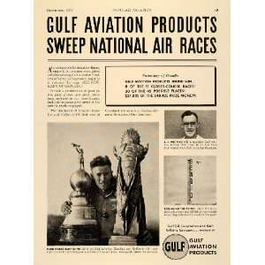 1937 Ad Gulf Aviation Product Oil Rudy Kling Greve Race   Original