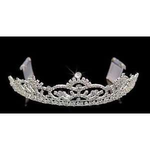 com Silver Crystal Crown Tiara with Combs for Wedding, Prom, Pageant