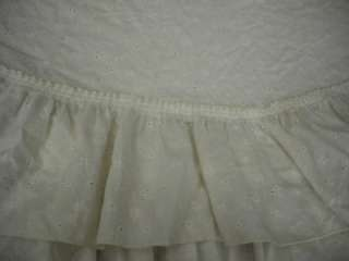 SHABBY~CREAMY WHITE EYELET~EXTRA FULL 8 RUFFLE~LARGE ROUND TABLECLOTH